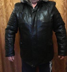 Кожаная зимняя курточка на меху