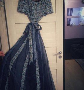 Платье длинное темно синее