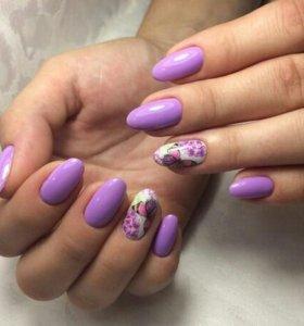 Наращивание ногтей,покрытие гелем