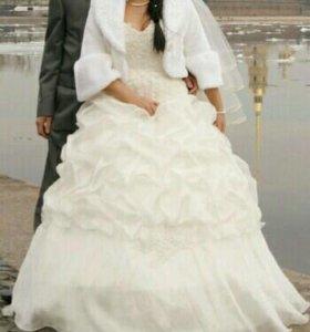 свадебное платье+шубка