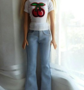 Одежда для  куклы барби (джинсы+футболка)