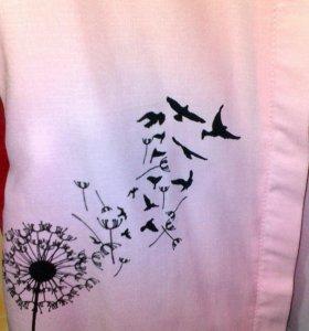 Рубашка с принтом нежно-розовая
