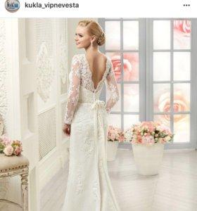 Свадебное платье + фата + подвязка