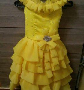 Праздничное платье+ободок+перчатки