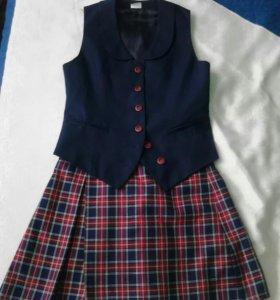 Школьная юбочка с жилеткой.