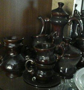 Кофейный сервиз+кофейные чашки с блюдцами