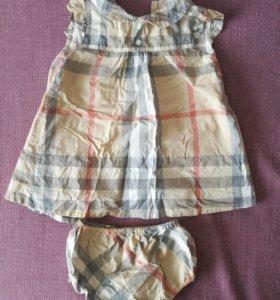 Платье с трусиками на подгузник Burberry kids