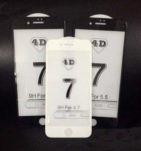 iPhone 4D чёрное,белое калёное стекло