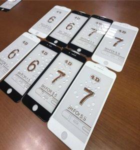 iPhone 4D белое и чёрное калёное стекло