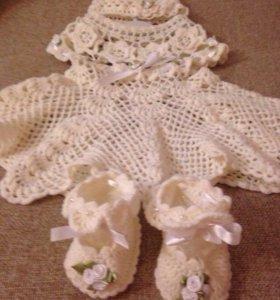 Платье вязаное на девочку 1,5 года