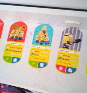 Карточки миньёны одна стоит 10 рублей блестящие 30
