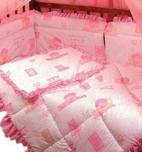 Бортики, простынь,одеяло,подушка,балдахин.НОВОЕ!!!