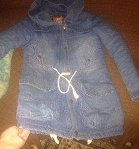 Куртка-парка зимняя(джинсовая)