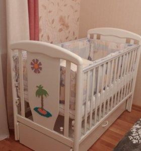 Детская кроватка Papaloni Vitalia (+матрас)