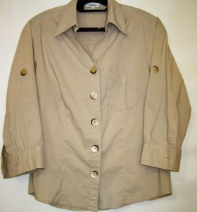 Блузка-рубашка бежевая