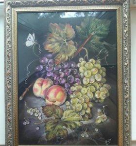 Два персика и виноград.пастель.