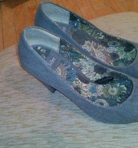 Туфли женские серые, текстильные