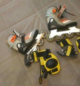 Роликовые коньки вместе с защитой наколенники и по
