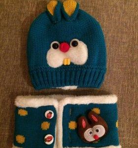 Новая детская шапочка + шарфик