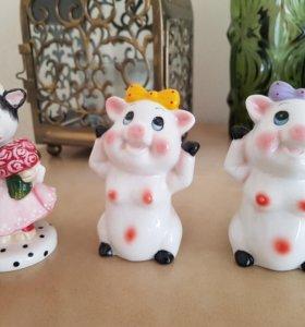 Фарфоровые-керамические статуэтки коровы