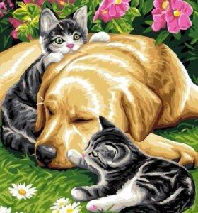 """Картина по номерам """"Собака с котятами"""""""