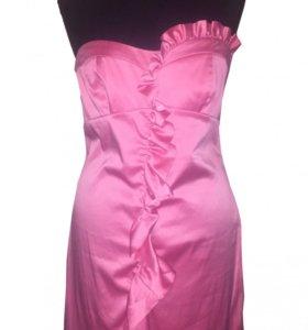 Платье розовое Naf Naf вечернее размер S