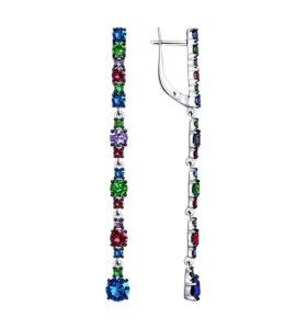 Длинные серьги с кристаллами Swarovski Соколов