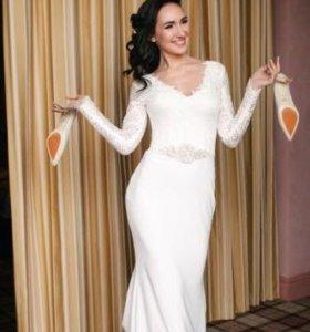 """Свадебное платье с рукавами силуэт """"рыбка"""""""