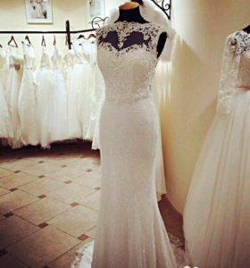 Шикарное кружевное свадебное платье Naviblue