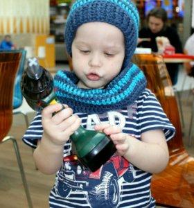 Комплект детская шапка и снуд вязанные