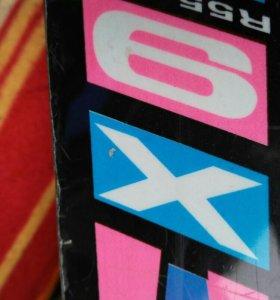 Горные лыжи 140см с ботинками р.24.5см(на 36-37)