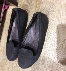 Экко туфли балетки замша