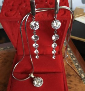Серебро серьги , цепь , подвеска
