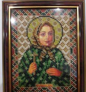 Икона святой блаженной Любушки Рязанской .(бисер)
