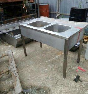 Ванна моечная 2х секционная цельнотянутая 1200*700