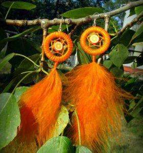 Апельсиновые серьги-ловцы снов