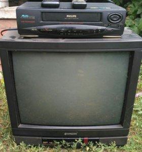 Телевизор и видеомагнитофон