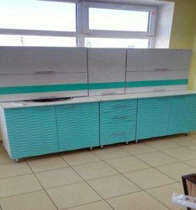 Кухня Берюза МДФ пвх с 3D фрезой волна