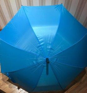 Зонт трость голубого цвета новый