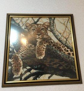 Вышитые картина в рамке со стеклом Леопард,большая