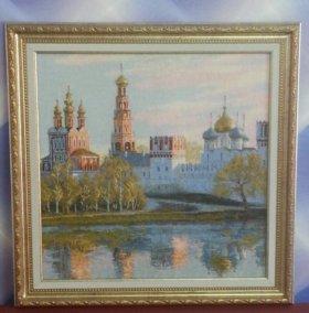 Вышитая счётным крестиком Новодевичий Манастырь
