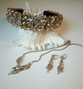 Ободок-Корона колье и сережки.