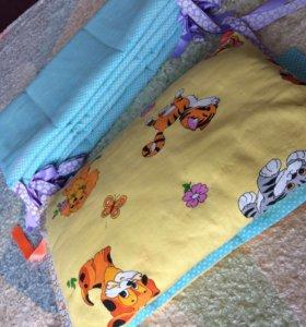 Бортики в кроватку со съемным чехлами