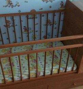 Детская кроватка трансформер до 7лет с пеленальным