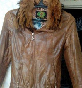 Куртка кожаная+сапоги ботфорты.