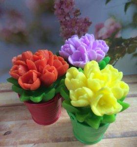 Букетик тюльпанов, мыло ручной работы