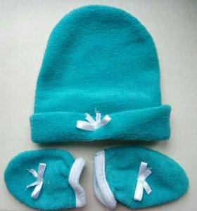 Шапочка и руковички (царапки) для новорожденного