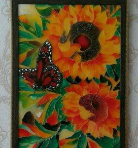 "Картина ""Бабочка на подсолнухе"""