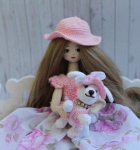 Текстильная кукла-Barbie с собачкой