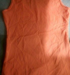 Майка ярко-оранжевая из шифона